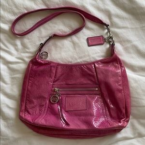 Coach Poppy Patent Leather Hobo Bag Pink #16723